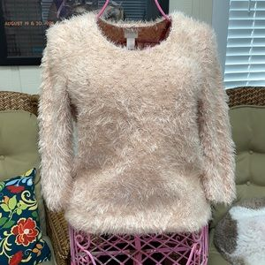 Chico's Fuzzy Peach pink pullover Sweater Size 0